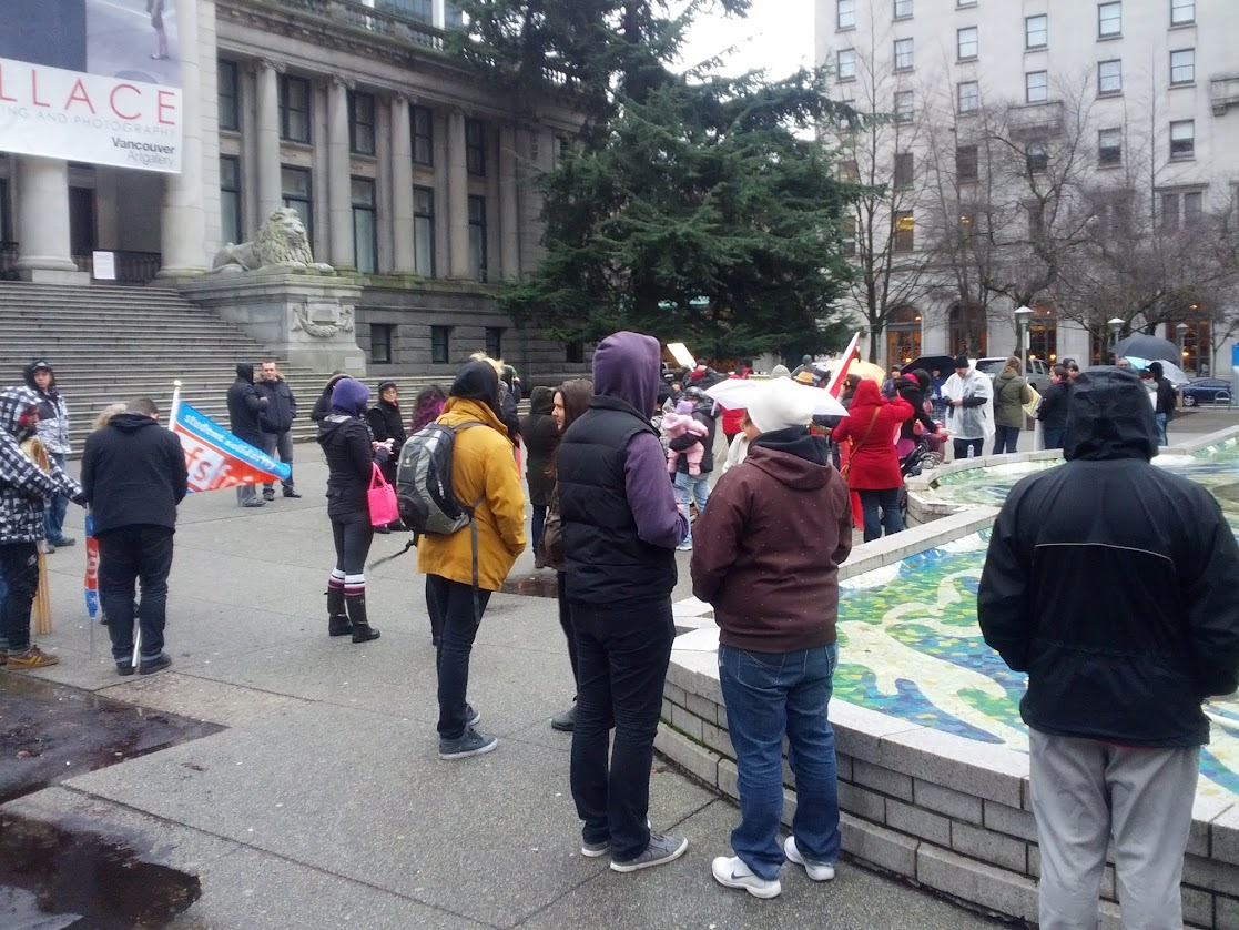 A view of the early crowd in front of the Vancouver Art Gallery