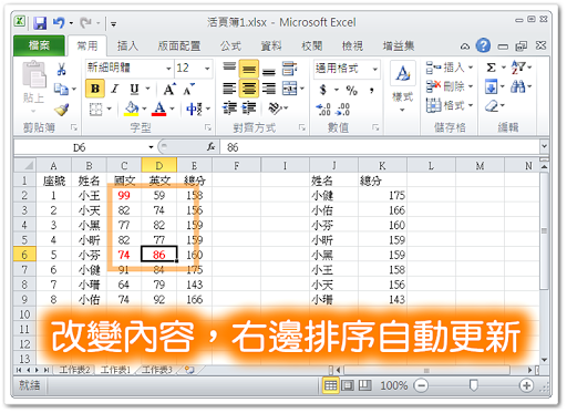改變原始資料,Excel 立即更新排序