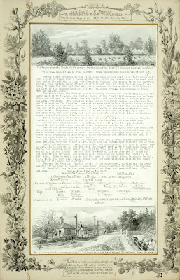 A Record of Shelford Parva by Fanny Wale P31 fo. 32, page 31: At the top of the page there is a black and white watercolour of a view from Manor farm of the Hauxton Road and a description of it, 1914; and a family tree of the Mansfield family. At the bottom is a watercolour of the railway crossing the road just beyond which lies the boundary between Shelford and Hauxton. The page is inset within a decorated picture mount [Mount B].  [not in photographic copy]