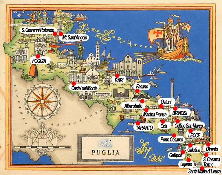 Cartina Salento - Case Vacanza sulle spiagge del Salento