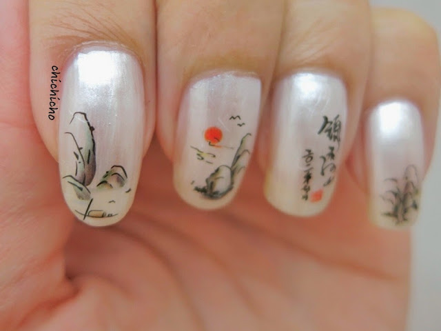 Chinese Water Color Painting Water Decal Nail Art