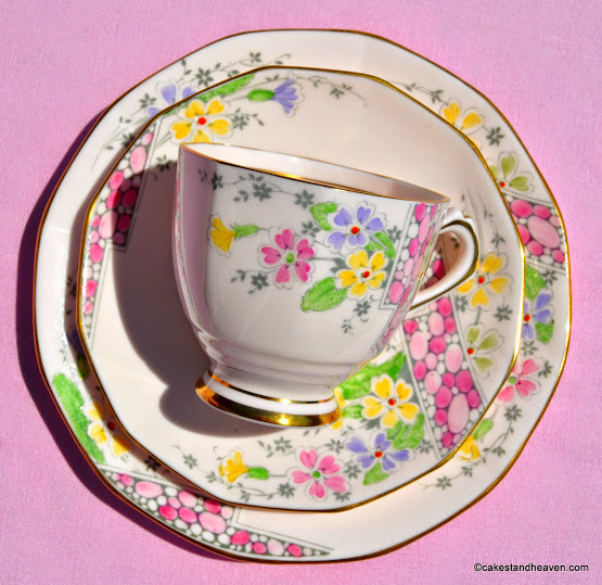 R.H. and S.L.Plant Tuscan Pink Bone China Trio