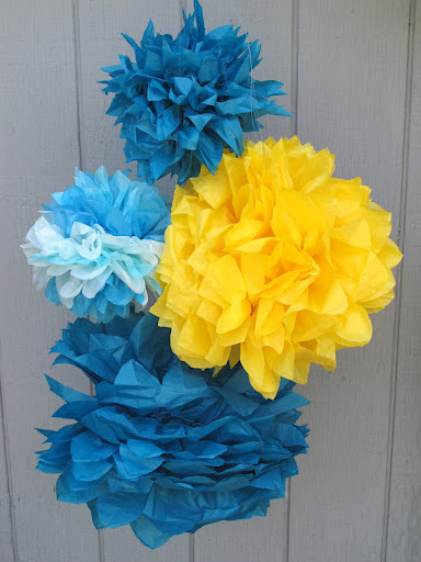 Handcrafted tissue paper poufs for sale at www.momentarilyyours.com