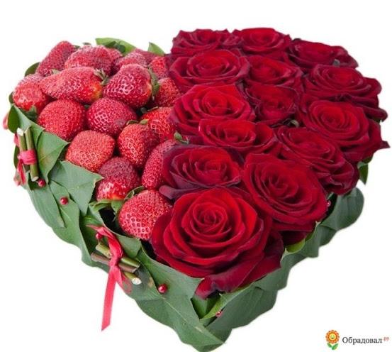 Corazón de rosas y fresas