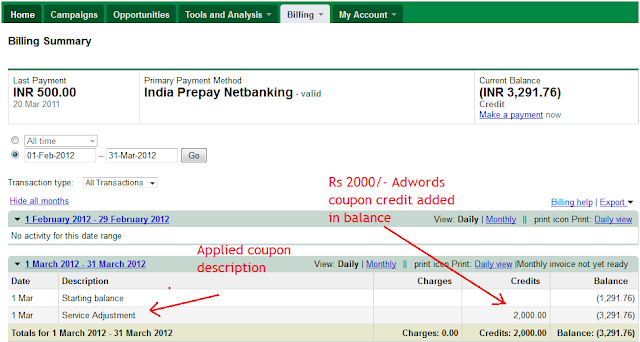 adwords coupon balance added screenshot How To Redeem Adwords Coupon Code For Mobile Ads?