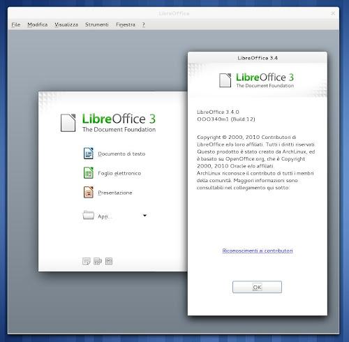 LibreOffice su Arch Linux