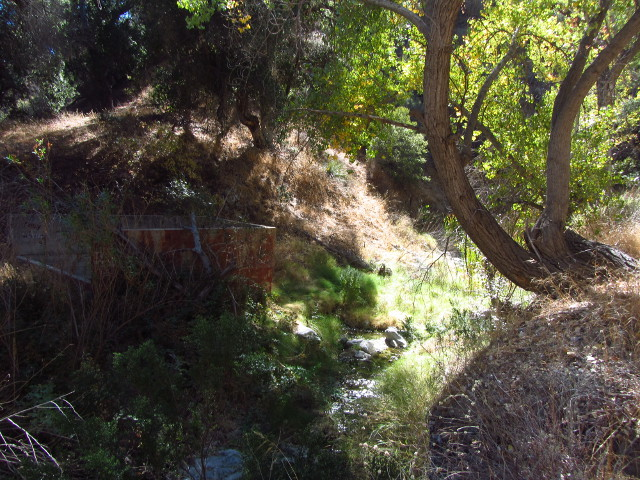 three sides of some sort of structure remain next to the small creek