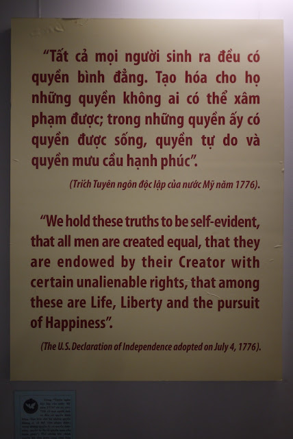 "Poster with the English text, ""'We hold these truths to be self-evident, that all men are created equal, that they are endowed by their Creator with certain unalienable rights, that among these are Life, Liberty and the pursuit of Happiness.' (The U.S. Declaration of Independence adopted on July 4, 1776)."
