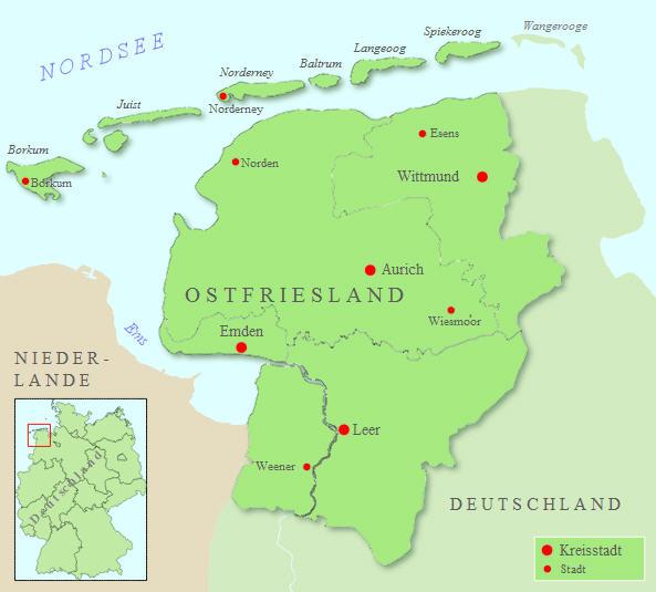 Deutschlandkarte Blog Landkarte Von Ostfriesland Und Ost