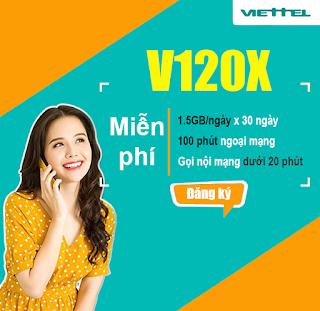 Gọi Miễn phí, 30GB lên mạng Gói V120X Viettel