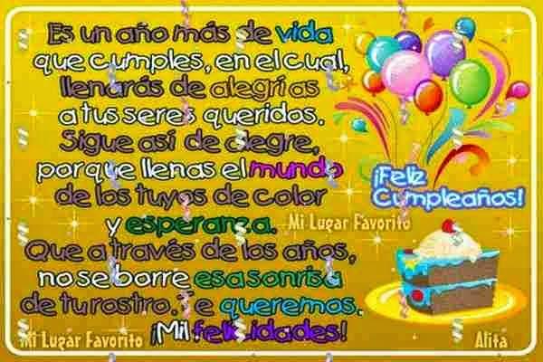 Cumpleaños feliz Palabras para felicitar