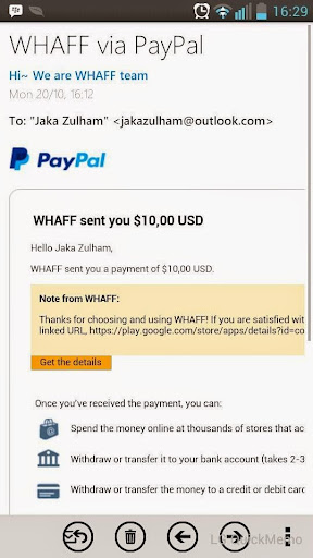 Pendapatan dari whaff
