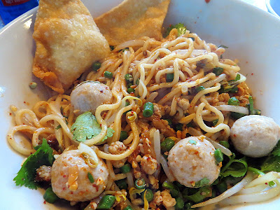 Sen Yai's Ba Mii Tom Yam Muu Haeng Dry wheat noodles with ground pork, pork balls, cracklings, peanuts, bean sprouts, long beans, preserved radish, fried garlic, chili vinegar, fish sauce, and chili powder Thai food Andy Ricker Sen Yai noodle restaurant