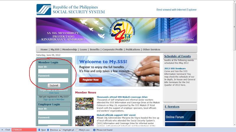 SSS member login page