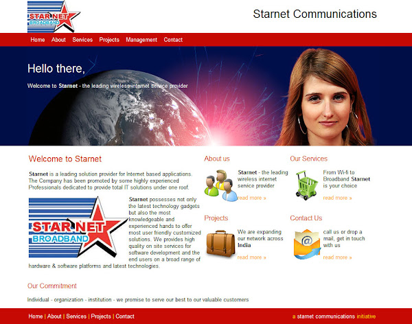 starnet communications website homepage