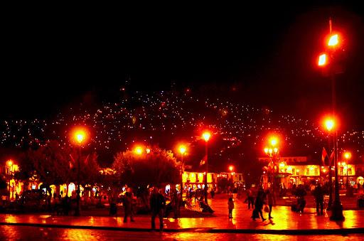 クスコの見上げる夜景