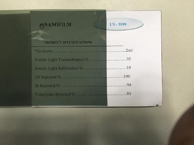 Mẫu phim cách nhiệt UV 3599 Nano Film