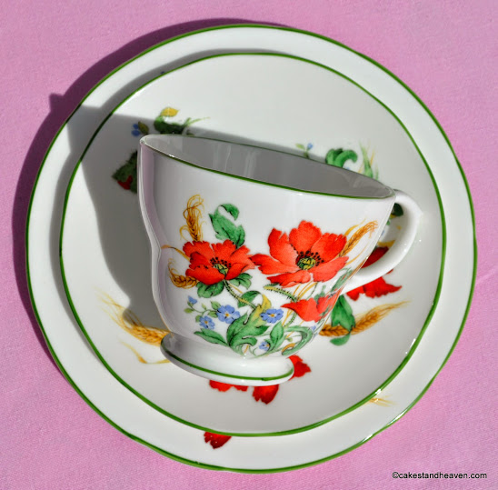 Duchess Poppies vintage teacup trio with green rim