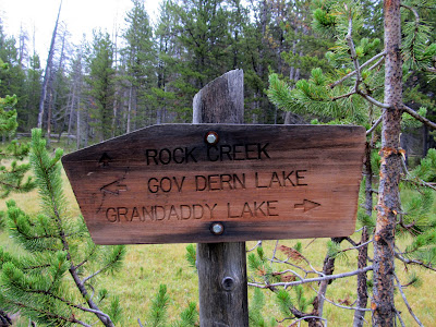 Trail junction near Rainbow Lake