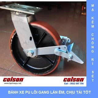 Bánh xe PU lõi Gang bánh xe đẩy tải nặng (315~550kg) banhxepu.net