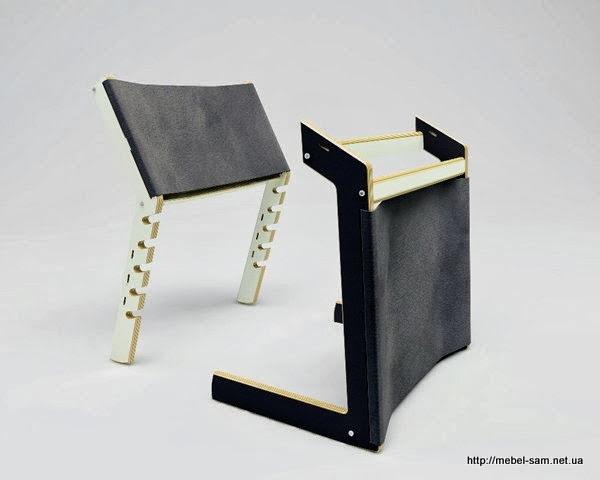 Фанерный стул INDU в разобранном состоянии. Вид спереди.
