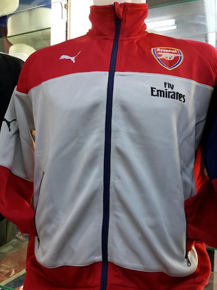Jual Jaket Arsenal Puma Putih Sideline Merah 2014-2015 Terbaru