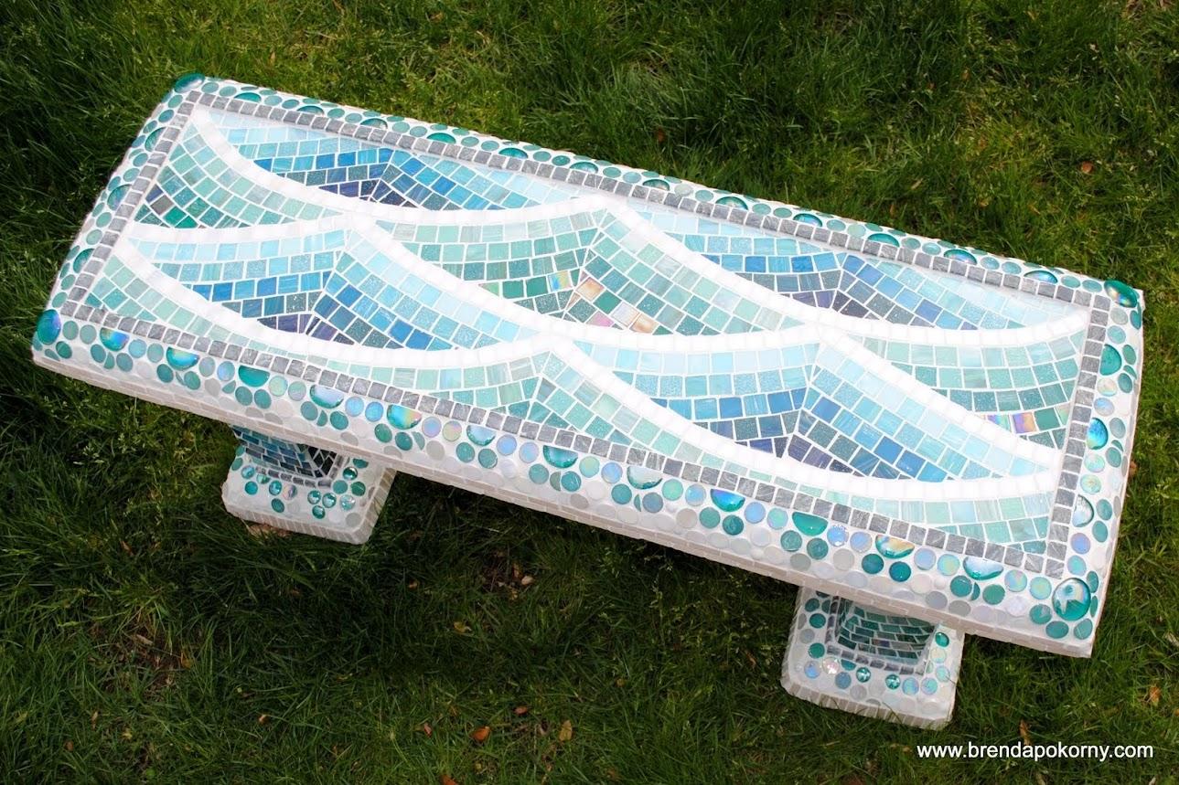 Surprising Mosaic Garden Bench Low Tide Beads Pieces Ibusinesslaw Wood Chair Design Ideas Ibusinesslaworg
