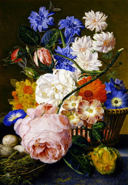 Jan van Huysum - Roses, morning glory, narcissi, aster and other flowers in a basket, with eggs in a nest on a marble ledge, 1744