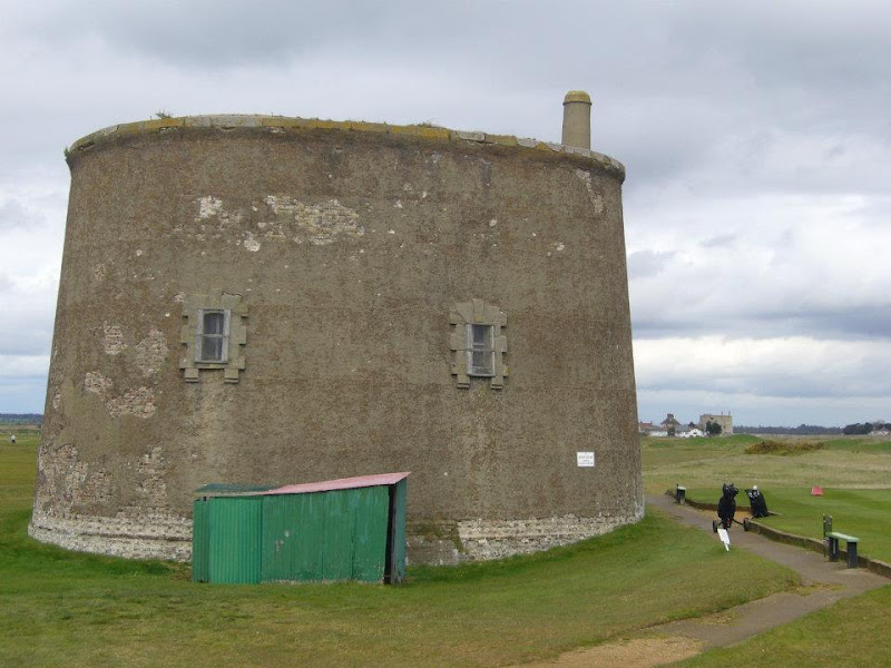Martello Tower on Felixstowe Ferry Golf Course with another in the background
