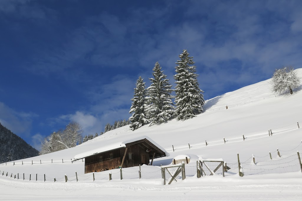 Hier startete ich meine Schneeschuhtour