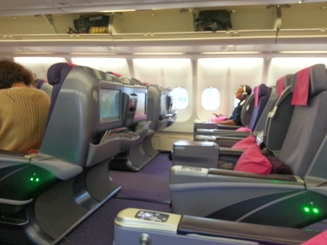 View of the business class across the aisle