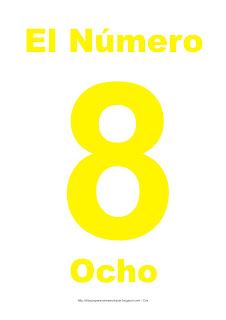 Lámina para imprimir el número ocho en color Amarillo