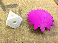 3D Printed parts for a heart shaped gear system.