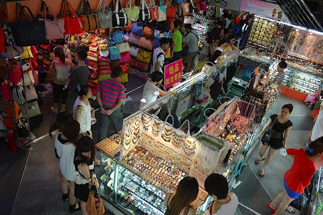 watches, bags, and other items being sold at Dongmen in Shenzhen, China