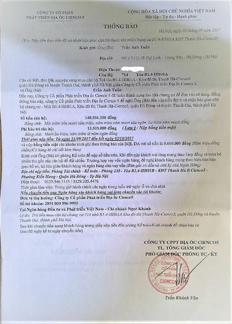 Thông Báo Đóng Tiền Đợt 5 Và Bàn Giao Chung Cư HH01A Thanh Hà