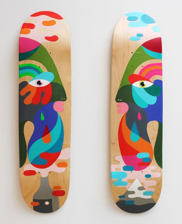 *手繪臉部色塊相拼滑板:藝術家Oli-B幾何創作! 4