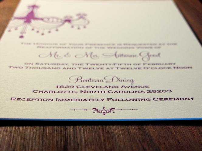 Letterpress Wedding Invitations Renewal of Vows