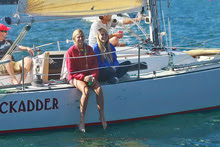 J/27 sailboat crew- enjoying light air sailing series San Diego