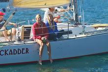 J/27 sailboat crew- enjoying light air sailing series San Diego