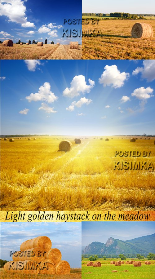 Stock Photo: Light golden haystack on the meadow