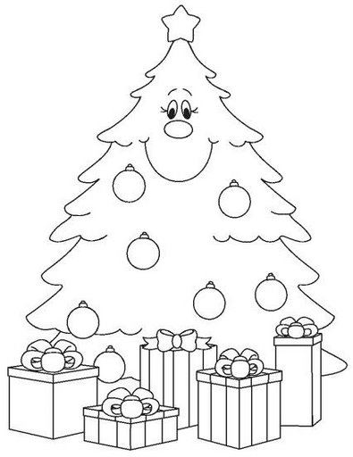 Happy Christmas tree coloring pages
