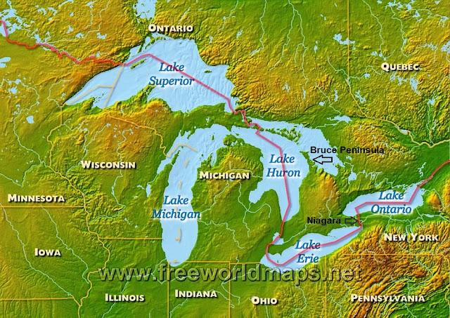Harta America de Nord (SUA-Canada), Marile Lacuri.