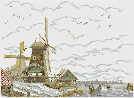 Dutch Mill in the Snowcross stitch pattern