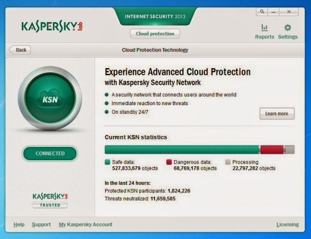 Screenshot of Kaspersky Internet Security 2013 Incl. License Keys Antivirus PC Software Free Download at Alldownloads4u.Com