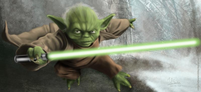 Digital Painting of Yoda holding a lightsaber, using Krita.