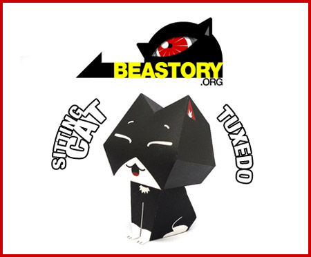 Tuxedo the Sitting Cat Paper Toy