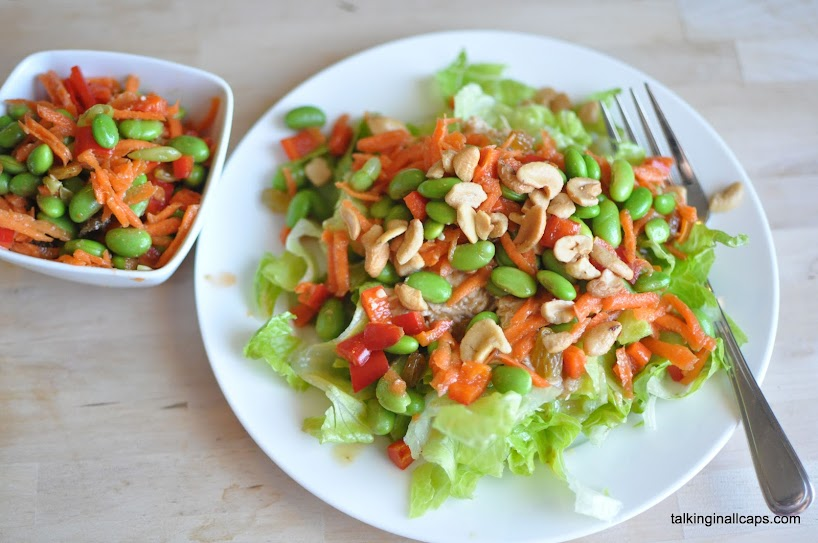 Chicken Edamame Salad with Miso Dressing
