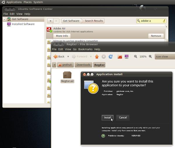 Инсталация на RegExr в Ubuntu 10.04