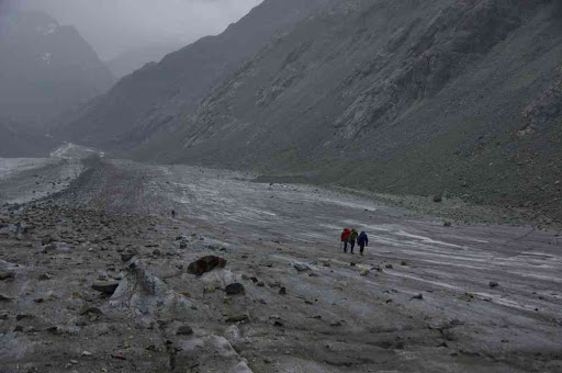 Progression sur le glacier d'Otemma