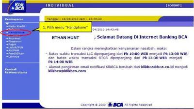tranksaksi pembayaran pasca bayar smart melalui KLIK BCA